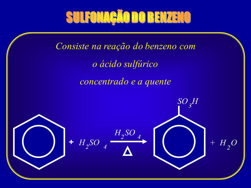 + 4 + SO H 2 H SO 3 HO 2 42 Consiste na reação do benzeno com o ácido sulfúrico concentrado e a quente