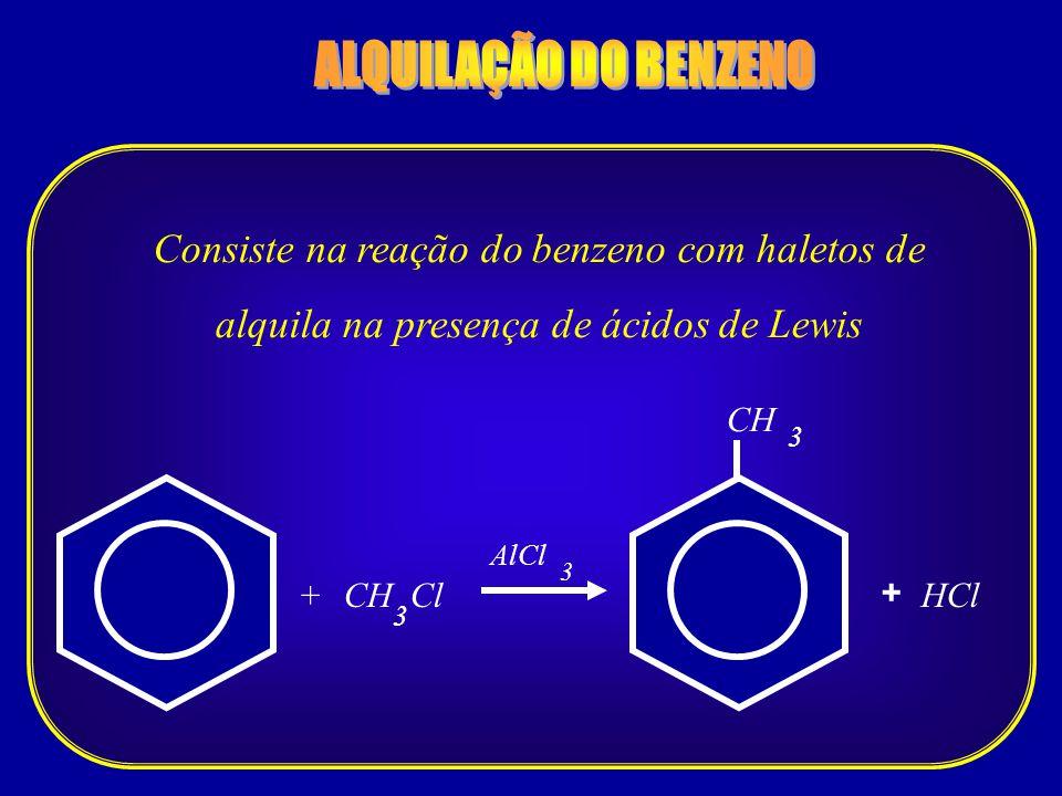 Consiste na reação do benzeno com haletos de alquila na presença de ácidos de Lewis CH Cl 3 +HCl 3 + AlCl CH 3