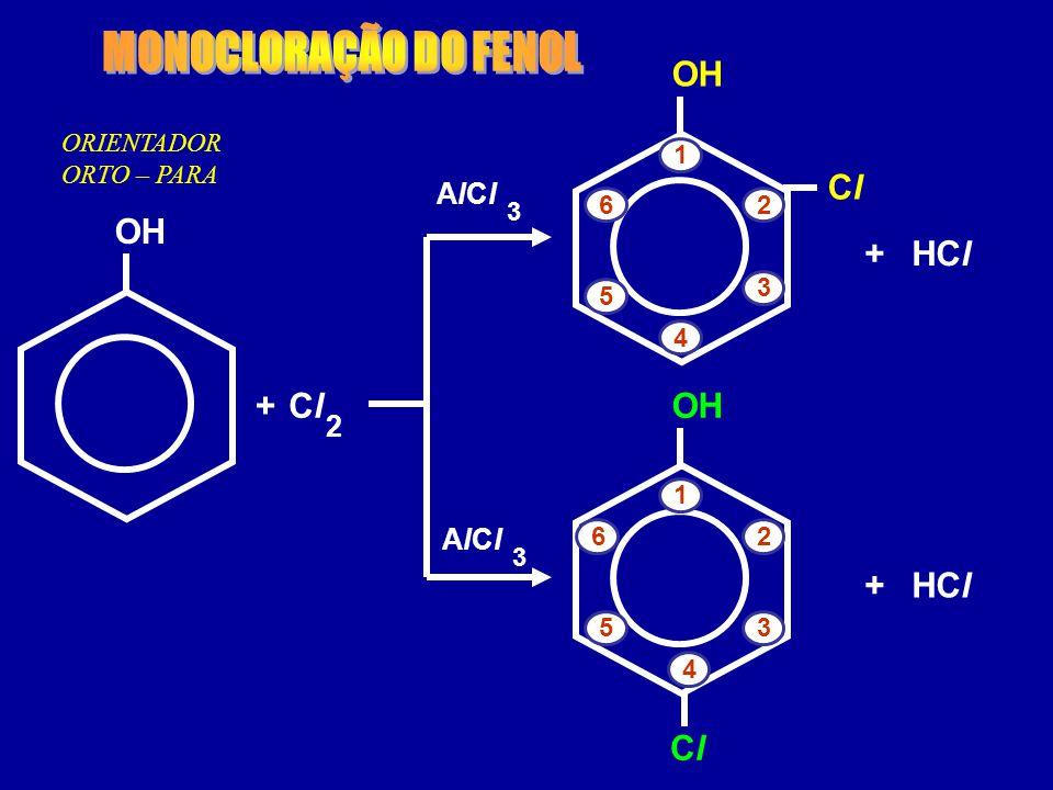 ORIENTADOR ORTO – PARA ClCl 2 + HCl 3 + AlClAlCl OH 3 AlClAlCl ClCl HCl+ ClCl 1 2 3 4 5 6 OH 1 2 3 4 5 6