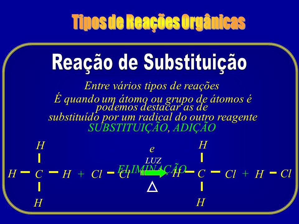 Entre vários tipos de reações podemos destacar as de SUBSTITUIÇÃO, ADIÇÃO e ELIMINAÇÃO C LUZ Cl H H + H H C H H + H H É quando um átomo ou grupo de át