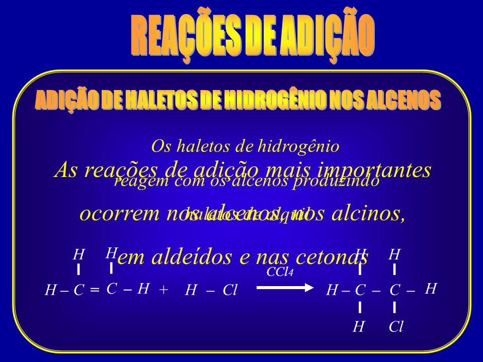 As reações de adição mais importantes ocorrem nos alcenos, nos alcinos, em aldeídos e nas cetonas Os haletos de hidrogênio reagem com os alcenos produ