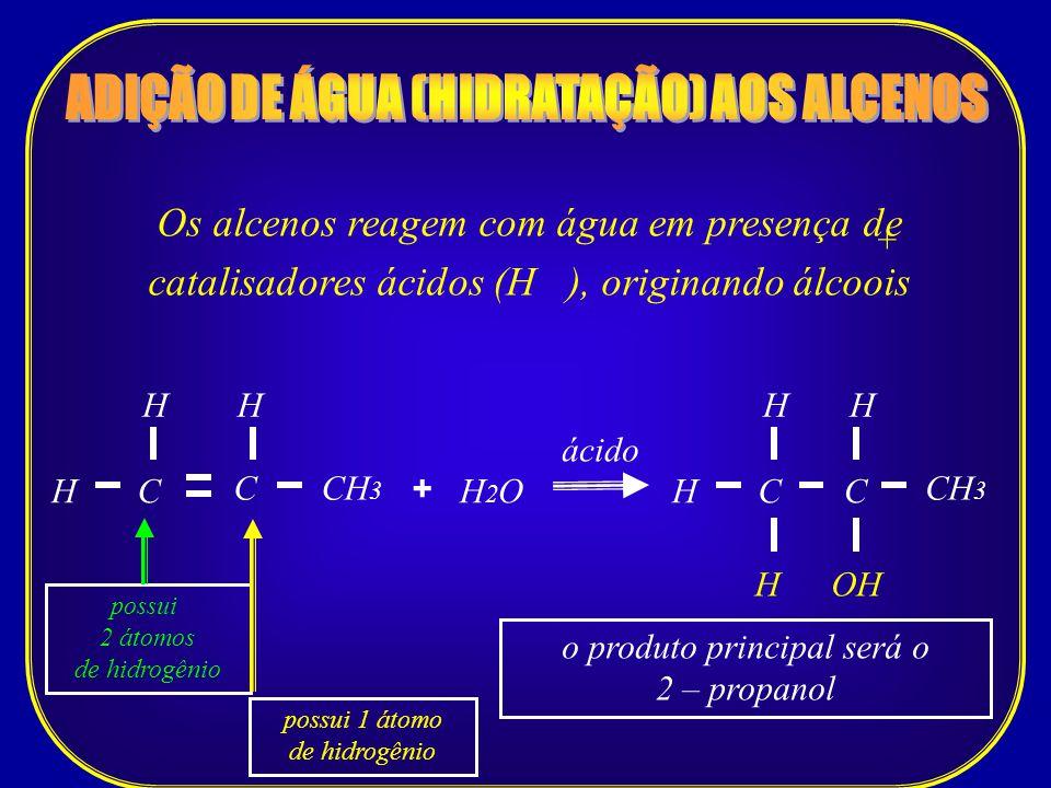 Os alcenos reagem com água em presença de catalisadores ácidos (H ), originando álcoois + C CH 3 H C ácido H2OH2OH + H CH H H C H OH possui 2 átomos d