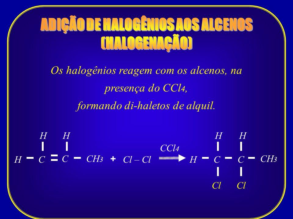 Os halogênios reagem com os alcenos, na presença do CCl 4, formando di-haletos de alquil. CCH 3 H C CCl 4 Cl – ClH + H CH H Cl C H