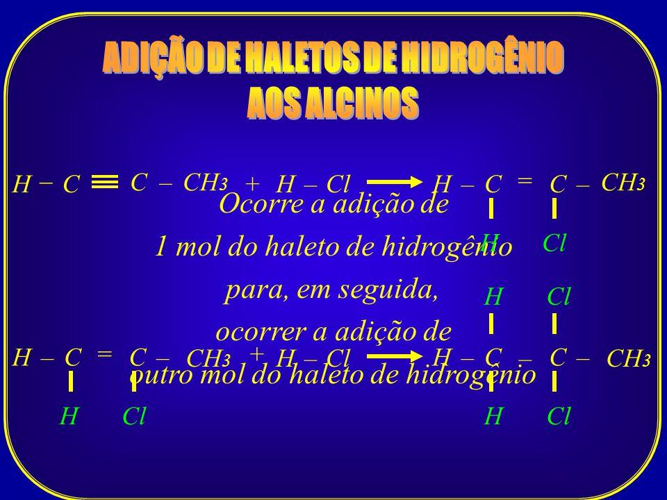 Ocorre a adição de 1 mol do haleto de hidrogênio para, em seguida, ocorrer a adição de outro mol do haleto de hidrogênio C–CH 3 CHClH+–C = –H H C– – C