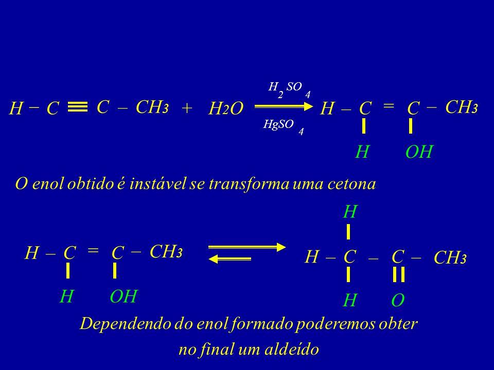 C–CH 3 CH2OH2OH+C = –H H C – OH – CH 3 C–H H C– O – H 4 HgSO 42 H SO CH 3 C = –H H C – OH O enol obtido é instável se transforma uma cetona Dependendo