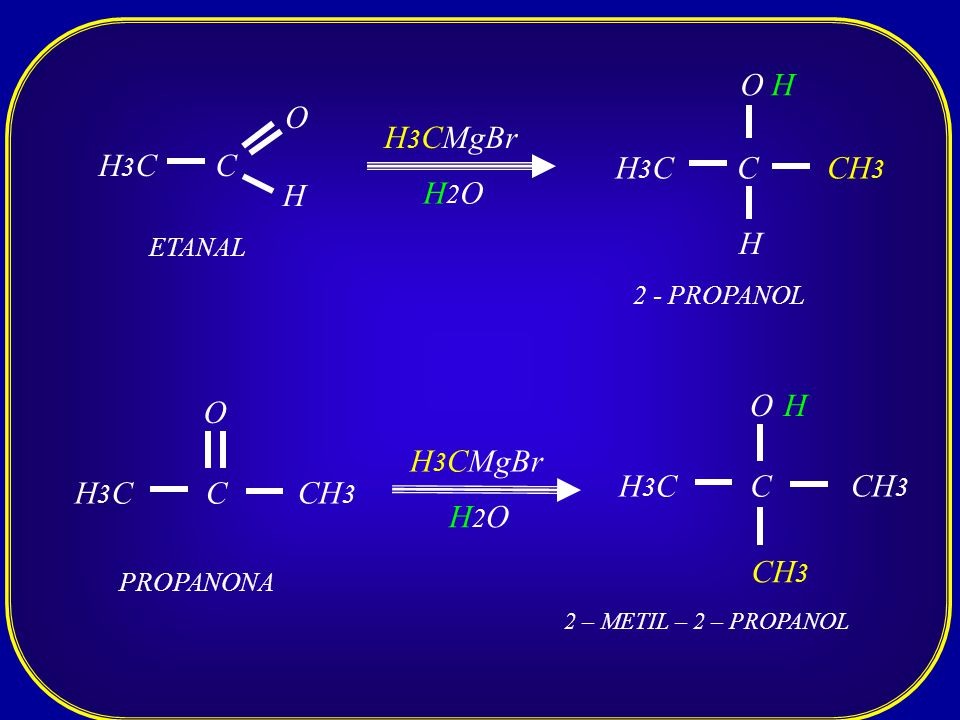 C O H3CH3C H H 3 CMgBr H2OH2O C O H3CH3C H CH 3 H ETANAL 2 - PROPANOL C O H3CH3C CH 3 PROPANONA H 3 CMgBr H2OH2O C O H3CH3C CH 3 H 2 – METIL – 2 – PRO