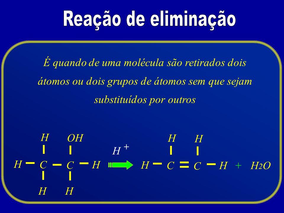 CH2OH2O H + H H HH C H C H H H C OH H + É quando de uma molécula são retirados dois átomos ou dois grupos de átomos sem que sejam substituídos por out