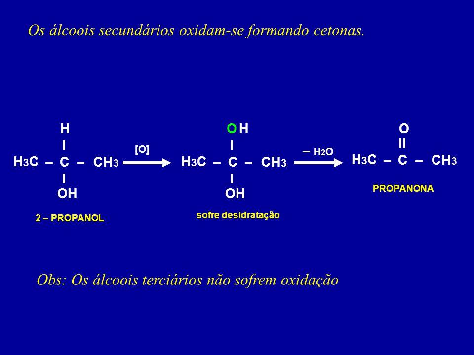 Os álcoois secundários oxidam-se formando cetonas. H3CH3C 2 – PROPANOL –C I I –CH 3 OH H [O] H3CH3C –C I I –CH 3 OH HO sofre desidratação H3CH3C –C II