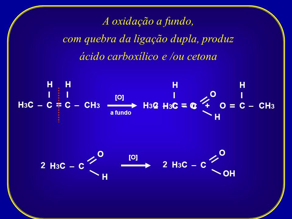 A oxidação a fundo, com quebra da ligação dupla, produz ácido carboxílico e /ou cetona H3CH3C –C I –CH 3 H [O] = C I H a fundo H3CH3C –C I H = –CH 3 C