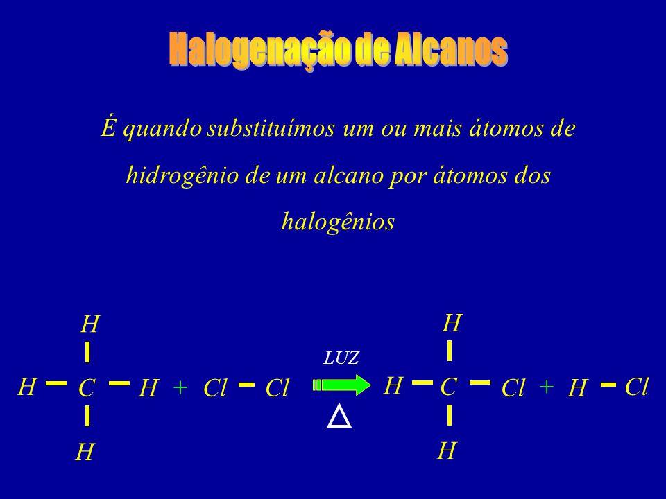 É quando substituímos um ou mais átomos de hidrogênio de um alcano por átomos dos halogênios C LUZ Cl H H + H H C H H + H H