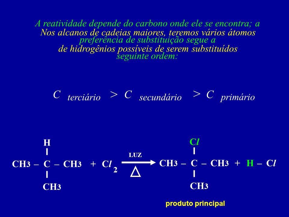 Nos alcanos de cadeias maiores, teremos vários átomos de hidrogênios possíveis de serem substituídos A reatividade depende do carbono onde ele se enco