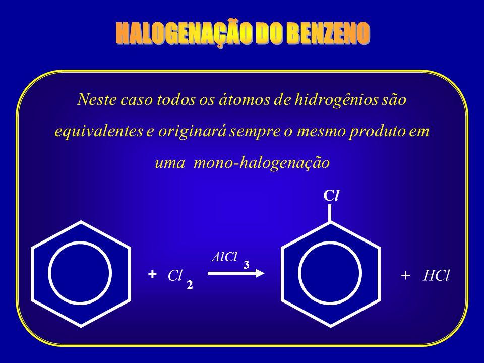 Cl 2 + HCl 3 + AlCl Cl Neste caso todos os átomos de hidrogênios são equivalentes e originará sempre o mesmo produto em uma mono-halogenação