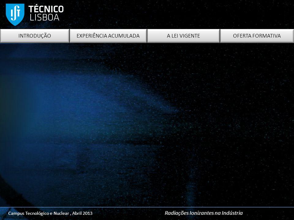 INTRODUÇÃO EXPERIÊNCIA ACUMULADA A LEI VIGENTE OFERTA FORMATIVA Campus Tecnológico e Nuclear, Abril 2013 Radiações Ionizantes na Indústria INTRODUÇÃO
