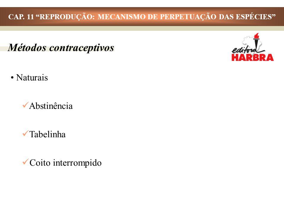 Métodos contraceptivos Naturais Abstinência Tabelinha Coito interrompido CAP. 11 REPRODUÇÃO: MECANISMO DE PERPETUAÇÃO DAS ESPÉCIES