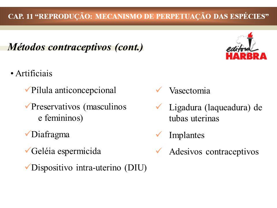 Métodos contraceptivos (cont.) Artificiais Pílula anticoncepcional Preservativos (masculinos e femininos) Diafragma Geléia espermicida Dispositivo int