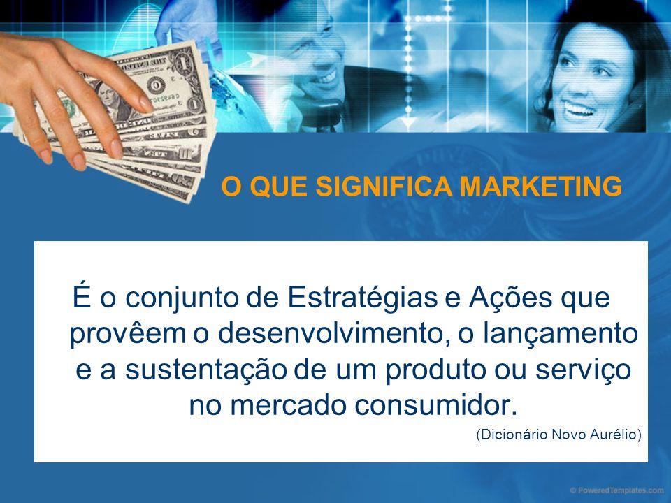 O QUE SIGNIFICA MARKETING É o conjunto de Estratégias e Ações que provêem o desenvolvimento, o lançamento e a sustentação de um produto ou serviço no