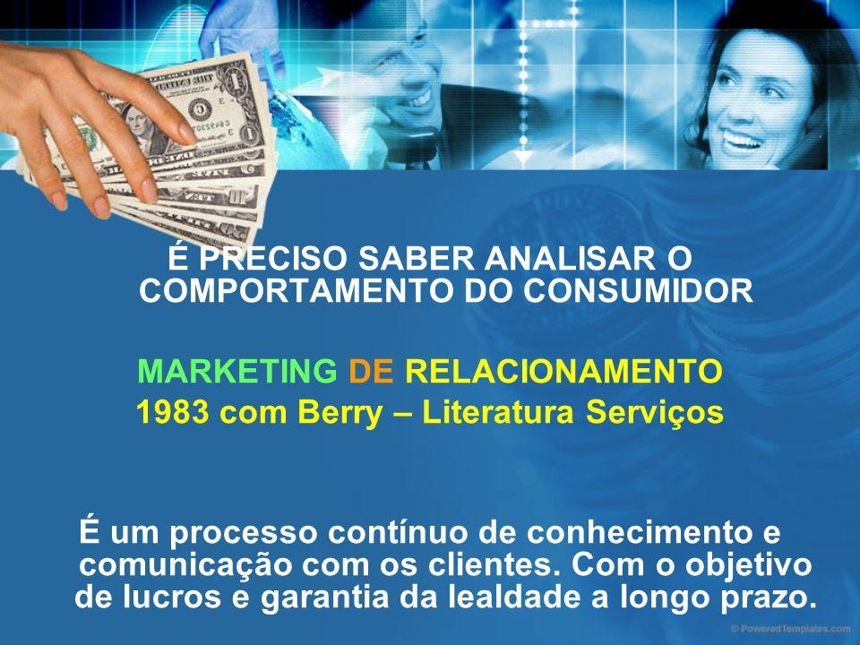 É PRECISO SABER ANALISAR O COMPORTAMENTO DO CONSUMIDOR MARKETING DE RELACIONAMENTO 1983 com Berry – Literatura Serviços É um processo contínuo de conh