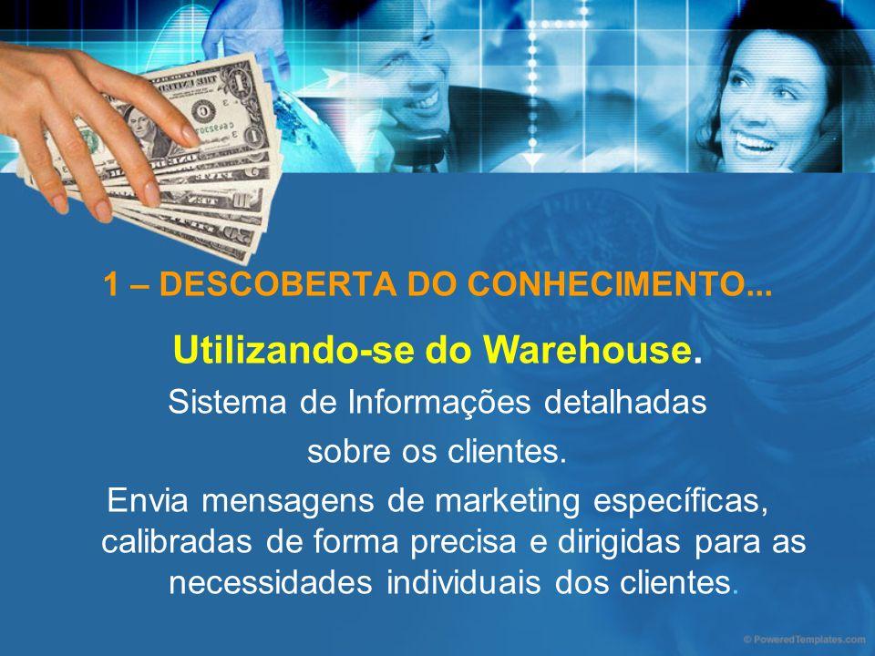 1 – DESCOBERTA DO CONHECIMENTO... Utilizando-se do Warehouse. Sistema de Informações detalhadas sobre os clientes. Envia mensagens de marketing especí