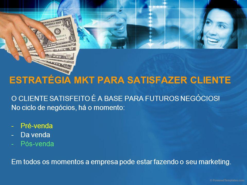 ESTRATÉGIA MKT PARA SATISFAZER CLIENTE O CLIENTE SATISFEITO É A BASE PARA FUTUROS NEGÓCIOS! No ciclo de negócios, há o momento: -Pré-venda -Da venda -