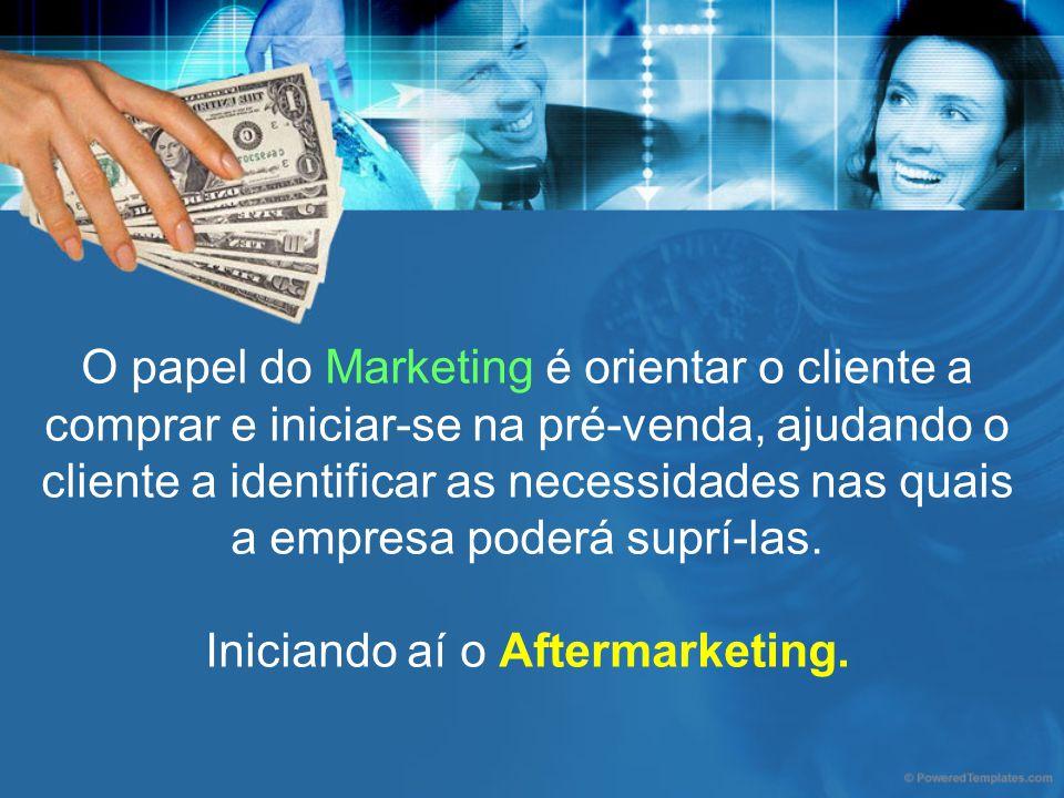 O papel do Marketing é orientar o cliente a comprar e iniciar-se na pré-venda, ajudando o cliente a identificar as necessidades nas quais a empresa po