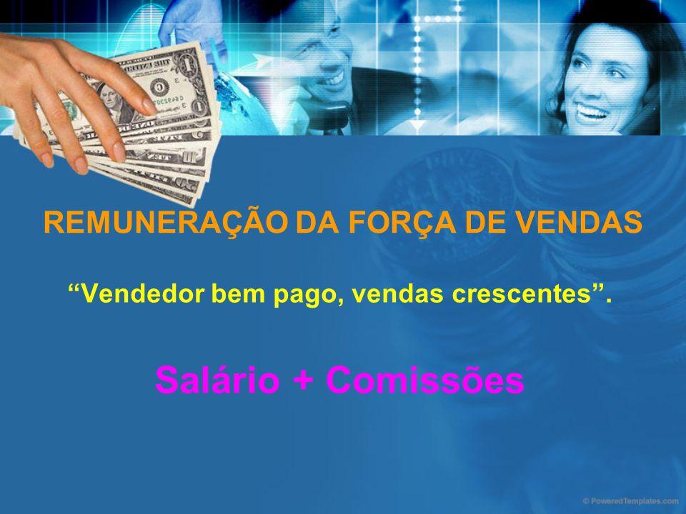 REMUNERAÇÃO DA FORÇA DE VENDAS Vendedor bem pago, vendas crescentes. Salário + Comissões