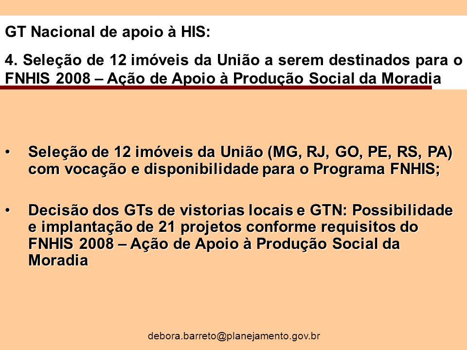 GT Nacional de apoio à HIS: 4.