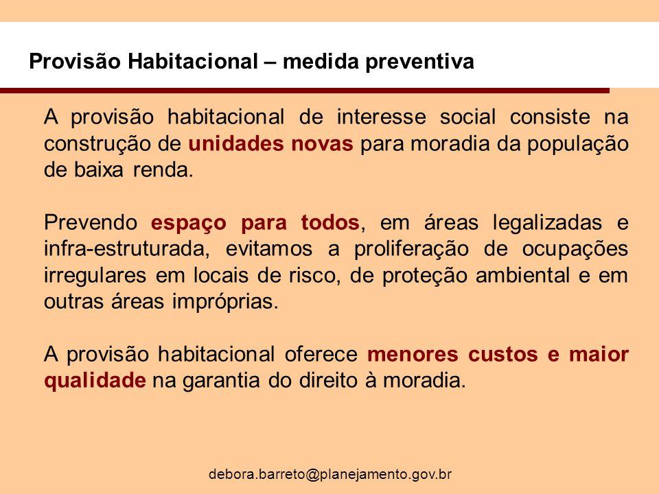 Provisão Habitacional – medida preventiva A provisão habitacional de interesse social consiste na construção de unidades novas para moradia da população de baixa renda.