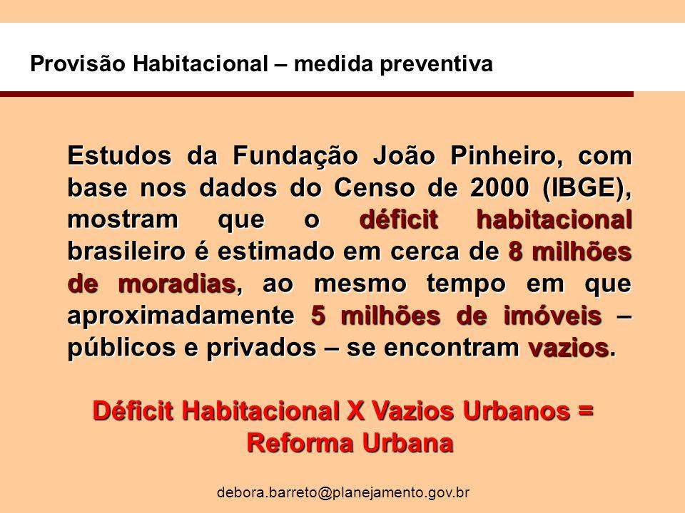 Provisão Habitacional – medida preventiva Estudos da Fundação João Pinheiro, com base nos dados do Censo de 2000 (IBGE), mostram que o déficit habitacional brasileiro é estimado em cerca de 8 milhões de moradias, ao mesmo tempo em que aproximadamente 5 milhões de imóveis – públicos e privados – se encontram vazios.