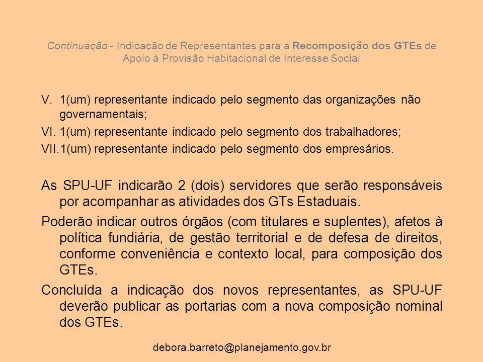 Continuação - Indicação de Representantes para a Recomposição dos GTEs de Apoio à Provisão Habitacional de Interesse Social V.1(um) representante indicado pelo segmento das organizações não governamentais; VI.