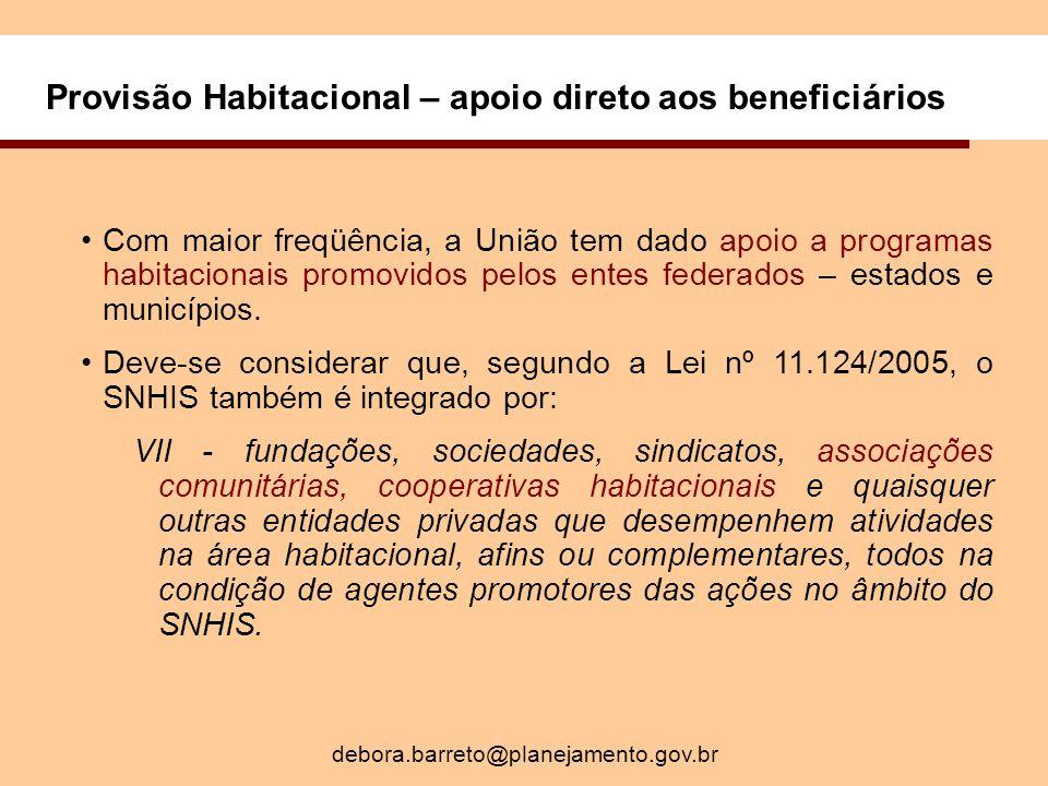 Provisão Habitacional – apoio direto aos beneficiários Com maior freqüência, a União tem dado apoio a programas habitacionais promovidos pelos entes federados – estados e municípios.
