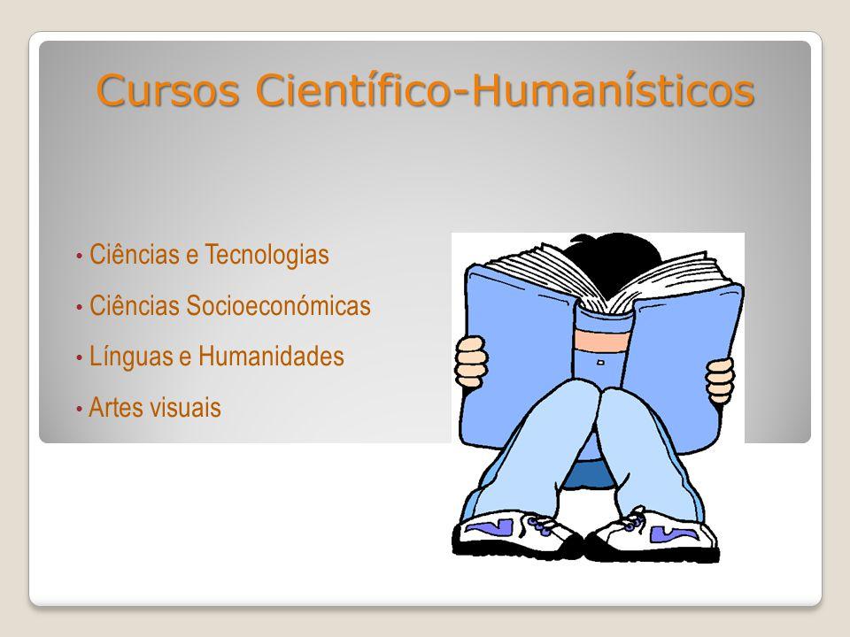 Cursos Científico-Humanísticos Ciências e Tecnologias Ciências Socioeconómicas Línguas e Humanidades Artes visuais