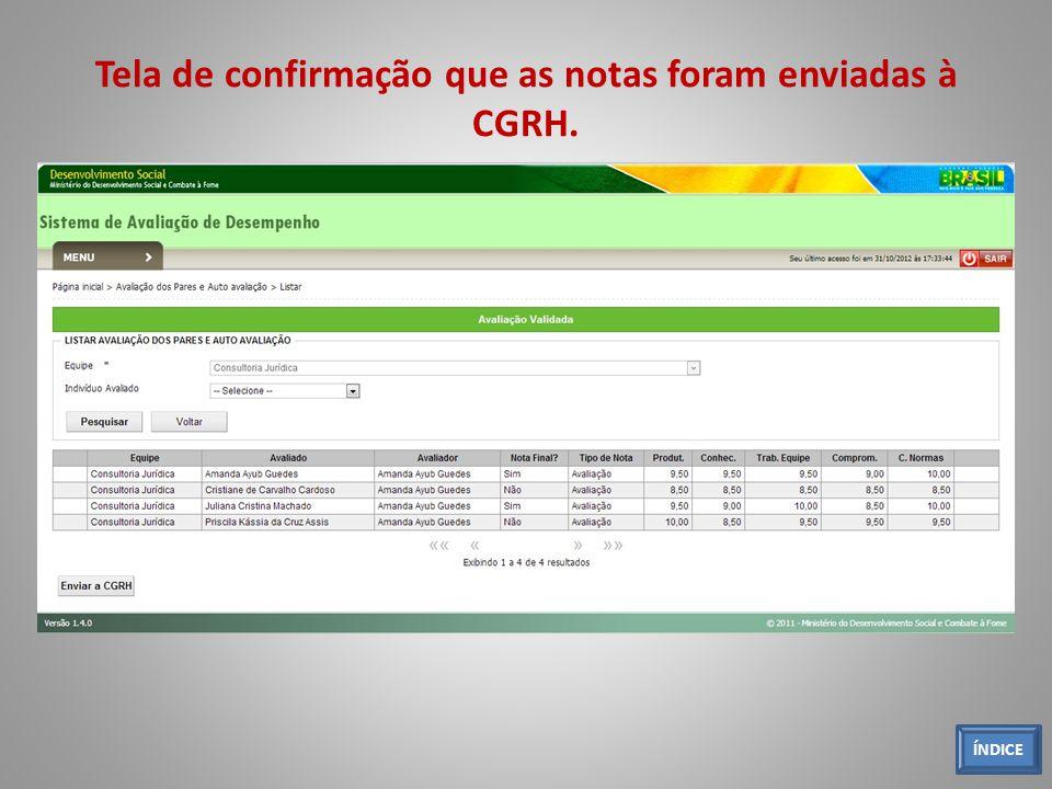 Tela de confirmação que as notas foram enviadas à CGRH. ÍNDICE