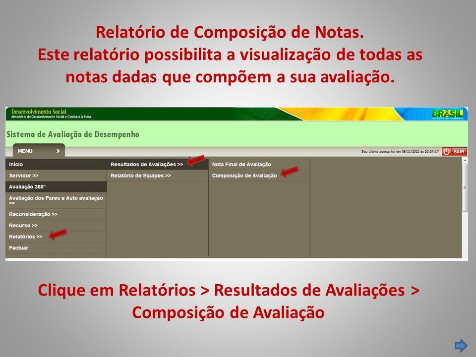 Relatório de Composição de Notas. Este relatório possibilita a visualização de todas as notas dadas que compõem a sua avaliação. Clique em Relatórios
