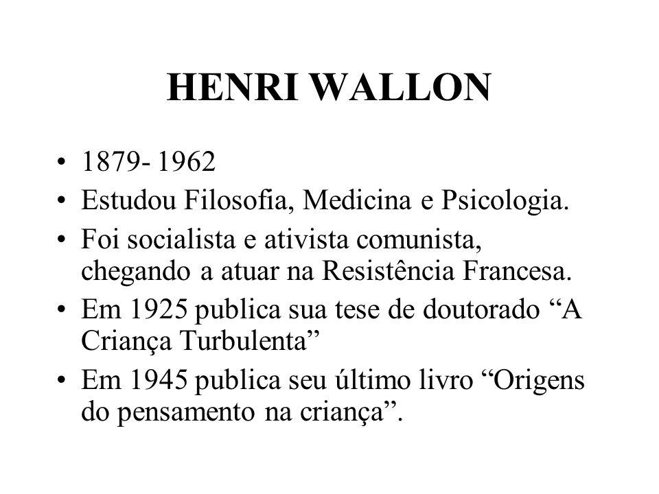 HENRI WALLON 1879- 1962 Estudou Filosofia, Medicina e Psicologia. Foi socialista e ativista comunista, chegando a atuar na Resistência Francesa. Em 19