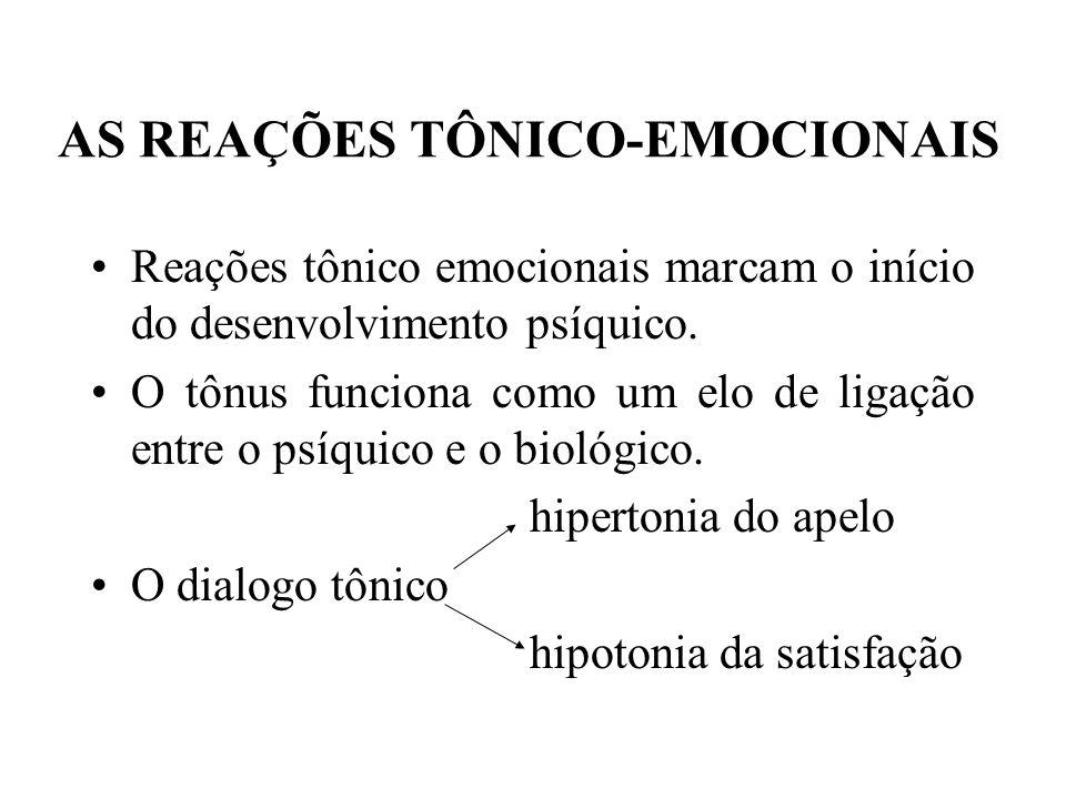 AS REAÇÕES TÔNICO-EMOCIONAIS Reações tônico emocionais marcam o início do desenvolvimento psíquico. O tônus funciona como um elo de ligação entre o ps
