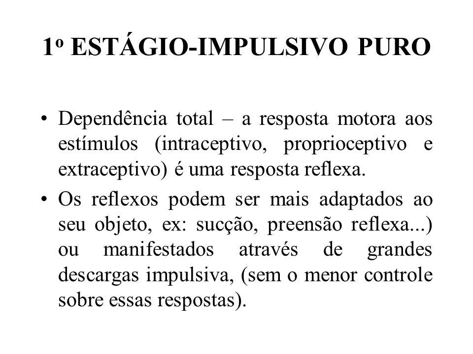 1 o ESTÁGIO-IMPULSIVO PURO Dependência total – a resposta motora aos estímulos (intraceptivo, proprioceptivo e extraceptivo) é uma resposta reflexa. O
