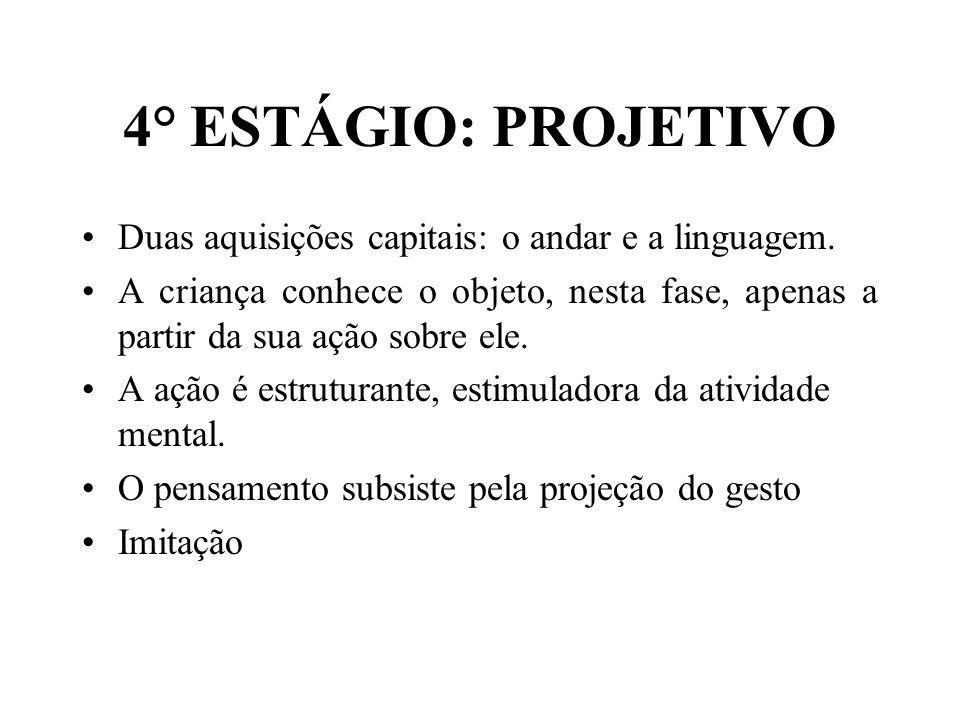 4° ESTÁGIO: PROJETIVO Duas aquisições capitais: o andar e a linguagem. A criança conhece o objeto, nesta fase, apenas a partir da sua ação sobre ele.