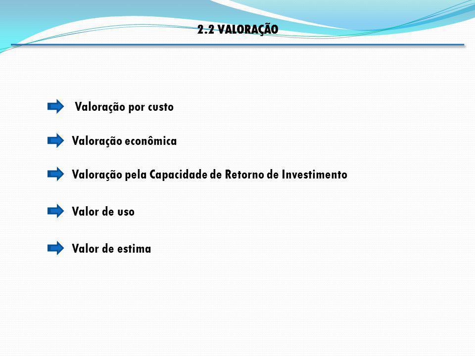 Valoração econômica Valoração por custo 2.2 VALORAÇÃO Valoração pela Capacidade de Retorno de Investimento Valor de uso Valor de estima