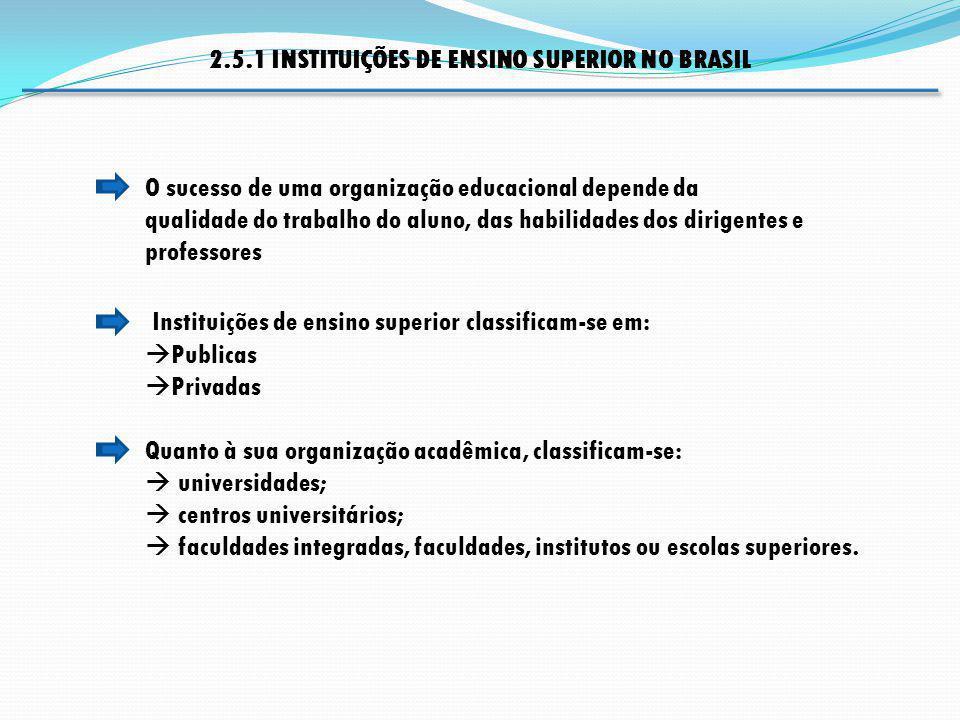 Instituições de ensino superior classificam-se em: Publicas Privadas O sucesso de uma organização educacional depende da qualidade do trabalho do alun