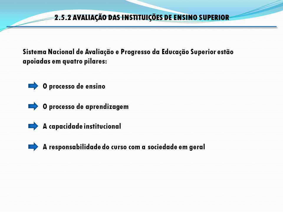 O processo de aprendizagem O processo de ensino A capacidade institucional Sistema Nacional de Avaliação e Progresso da Educação Superior estão apoiad