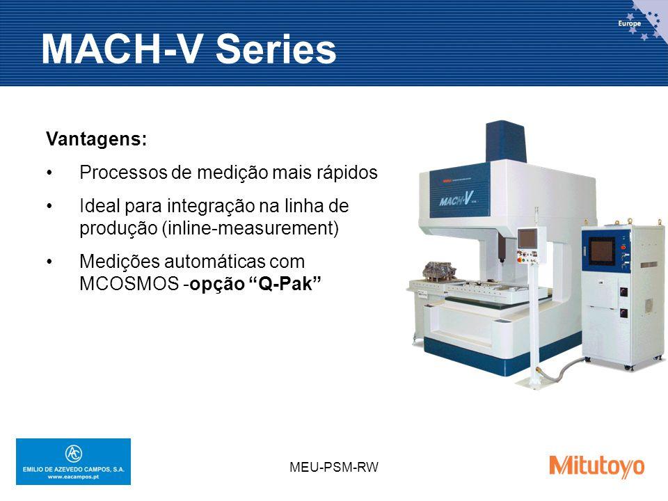 MEU-PSM-RW MACH-V Series Vantagens: Processos de medição mais rápidos Ideal para integração na linha de produção (inline-measurement) Medições automáticas com MCOSMOS -opção Q-Pak