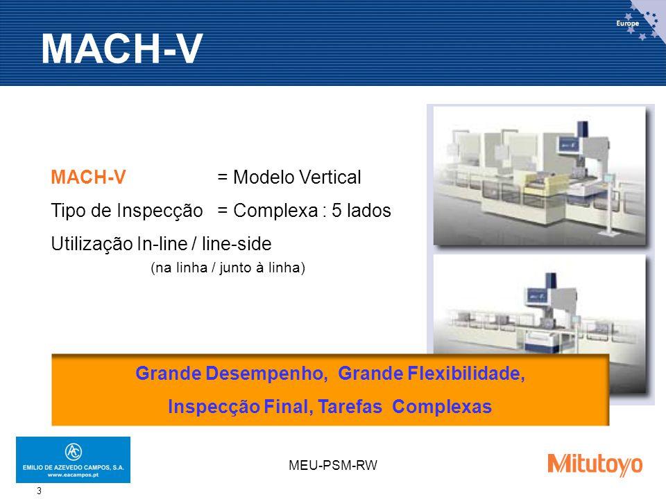 MEU-PSM-RW 3 MACH-V= Modelo Vertical Tipo de Inspecção = Complexa : 5 lados Utilização In-line / line-side (na linha / junto à linha) Grande Desempenho, Grande Flexibilidade, Inspecção Final, Tarefas Complexas MACH-V