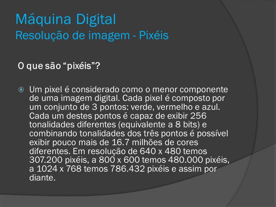 Máquina Digital Resolução de imagem - Pixéis O que são pixéis? Um pixel é considerado como o menor componente de uma imagem digital. Cada pixel é comp