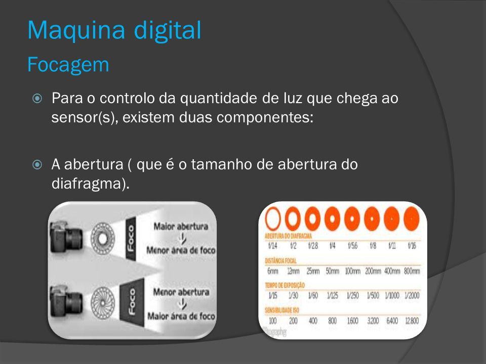 Maquina digital Focagem Para o controlo da quantidade de luz que chega ao sensor(s), existem duas componentes: A abertura ( que é o tamanho de abertur