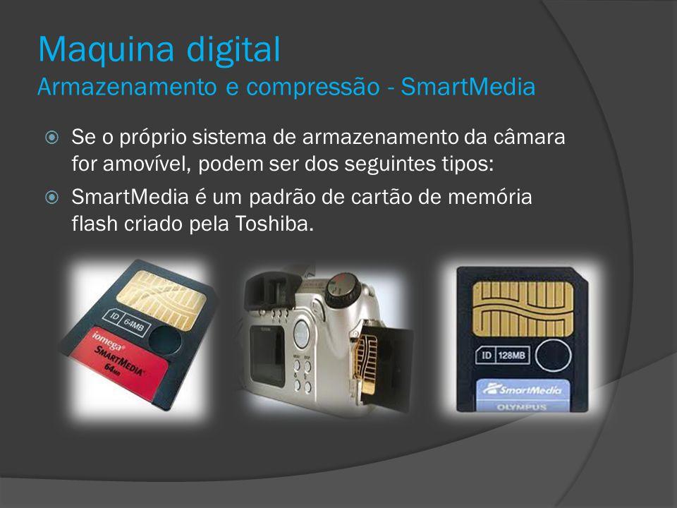 Maquina digital Armazenamento e compressão - SmartMedia Se o próprio sistema de armazenamento da câmara for amovível, podem ser dos seguintes tipos: S