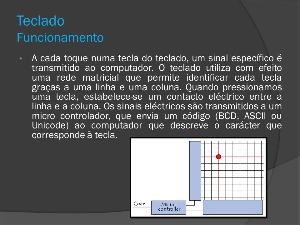 Teclado Funcionamento A cada toque numa tecla do teclado, um sinal específico é transmitido ao computador. O teclado utiliza com efeito uma rede matri