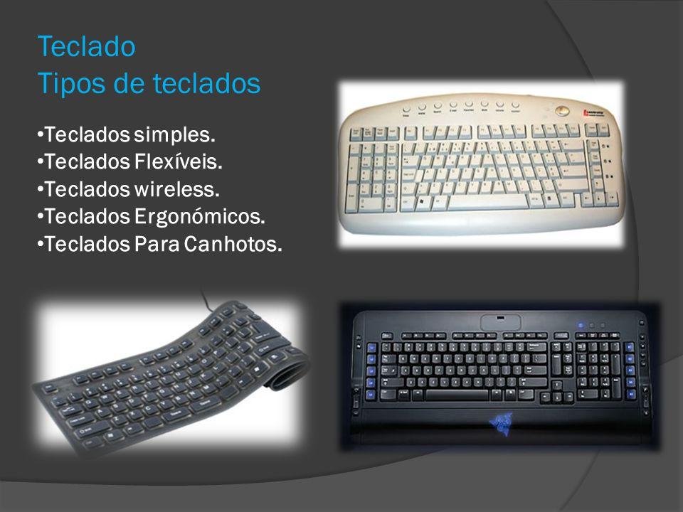 Teclado Tipos de teclados Teclados simples. Teclados Flexíveis. Teclados wireless. Teclados Ergonómicos. Teclados Para Canhotos.