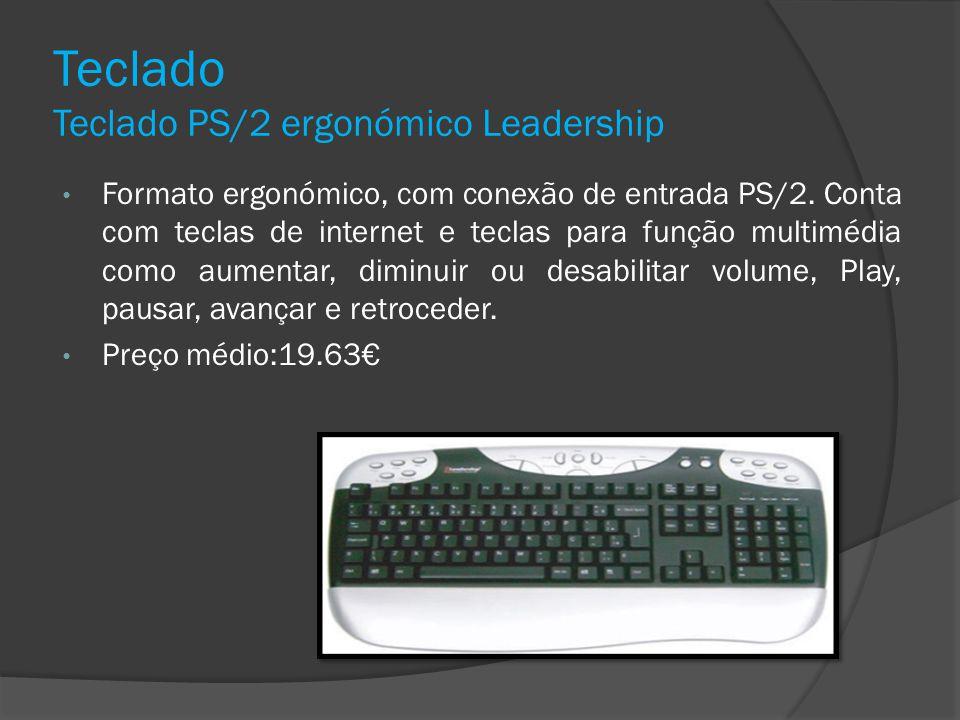 Teclado Teclado PS/2 ergonómico Leadership Formato ergonómico, com conexão de entrada PS/2. Conta com teclas de internet e teclas para função multiméd