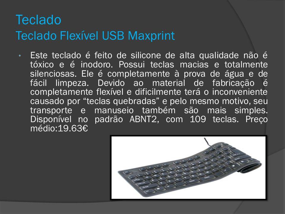 Teclado Teclado Flexível USB Maxprint Este teclado é feito de silicone de alta qualidade não é tóxico e é inodoro. Possui teclas macias e totalmente s