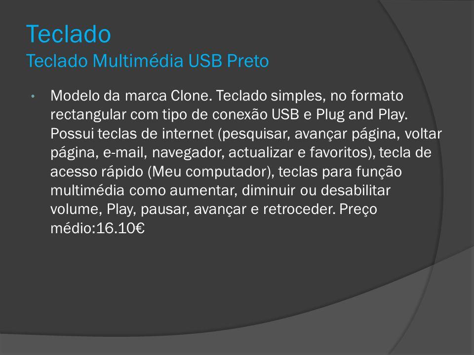 Teclado Teclado Multimédia USB Preto Modelo da marca Clone. Teclado simples, no formato rectangular com tipo de conexão USB e Plug and Play. Possui te